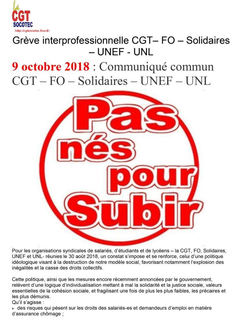 448fb5ff1bb SOCOTEC   Grève interprofessionnelle CGT– FO – Solidaires – UNEF – UNL -  Fédération CGT des Sociétés d Études