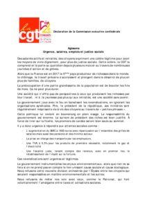 Déclaration de la Commission exécutive confédérale