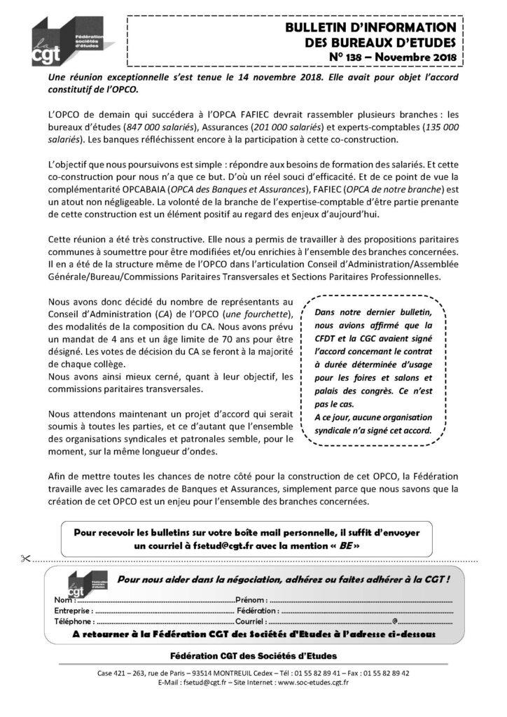 bulletin d'information des bureaux d'études n°138 - fédération cgt