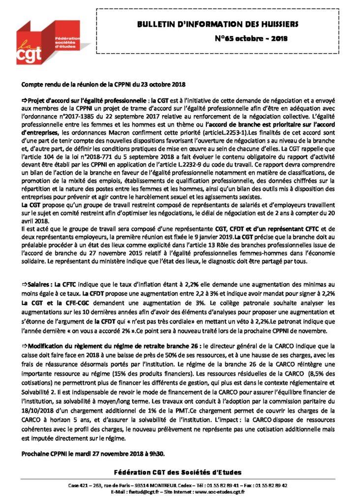 Bulletin d'information CGT Huissiers de justice n°65